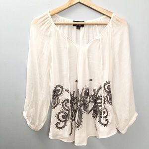 Embroidered Boho By & By White Top Sz L